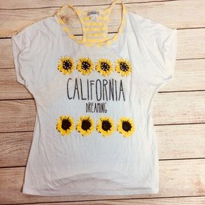 Womens Tees Large L DAVIDA Fashoin Top Sunflower